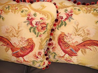 Throw pillows vintage Needlepoint petit point bird floral design Custom PAIR