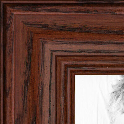 """ArtToFrames Custom Picture Poster Frame Red Cherry Stain on Oak 1.25"""" Wide Wood"""
