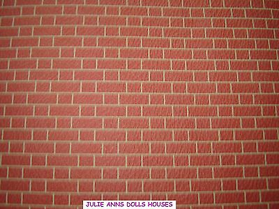 Dolls House Embossed Brick Miniature Wall Paper, 12 Th Scale New, Julie Anns