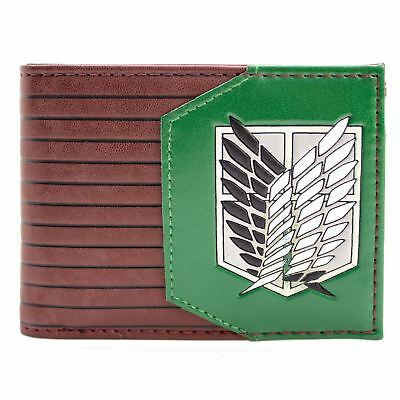 New Official Shonen Attack On Titan Survey Corps Brown Id & Card Bi-Fold Wallet