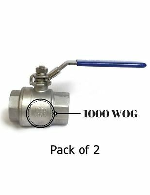 "3/4"" NPT Female 316 Stainless Steel Full Port Ball Valve w/Vinyl Handle WOG 1000"