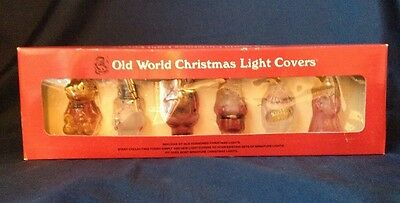 Vintage Old World Christmas Light Covers Glass Hand Painted