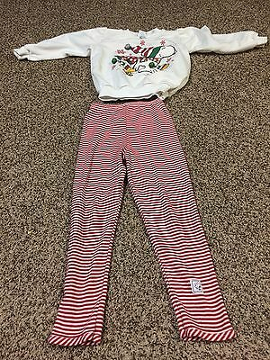 Girls Small Vintage Snoopy Christmas Sweater Pants Outfit