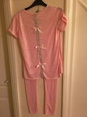FCL Lounge Suit Age 13 Years Baby Pink Mix Glitter & Pink Bows Down Back BNWT