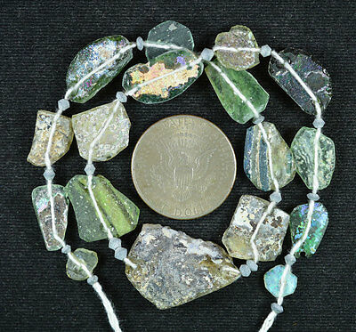 Ancient Roman Glass Beads 1 Medium Strand Aqua And Green 100 -200 Bc 539