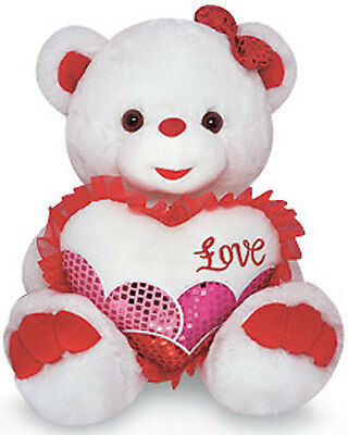 "14"" Bear Plush sparkle pierced nose LOVE Heart Valentine' Mother' Birthday"