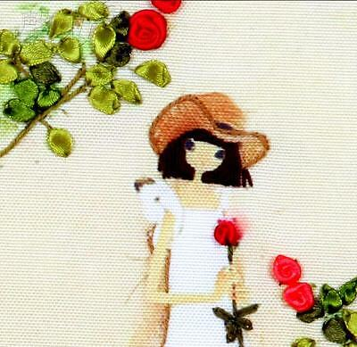 Ribbon Embroidery Kit A Pretty Girl with a Red Rose Needlework Craft Kit XZ1038