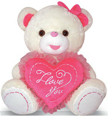 "14"" Teddy Bear Plush Stuffed Animal Doll Toy LOVE U Pink Heart NEW"