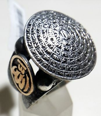 Arabian Egyptian Silver 925 Men Ring, Middle Eastern Islamic 99 God Names Allah