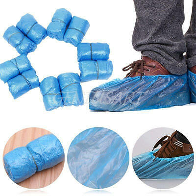 100pcs Plastic Rain Waterproof Disposable Shoe Covers Overshoes Boot Covers Blue