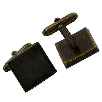 3 Pairs Antique Bronze Square Cabochon Setting Cuff Links Findings 17x17mm