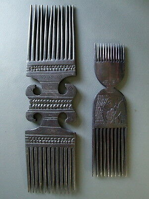 2 vintage African wooden combs one with elephant decoration