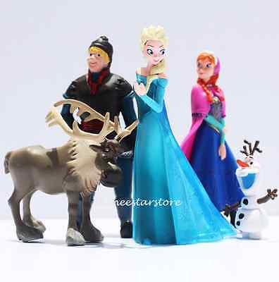 Frozen Cake Toppers figure doll 5pcs dress up play toy set