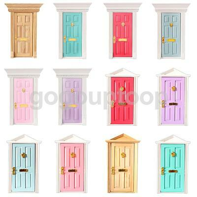 Dolls House Miniature External Front /Internal Fairy Wooden Door DIY Accessories
