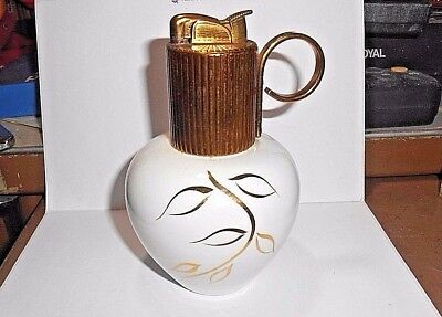 "Vintage Beautiful Evans Bone China 5"" Tall Table Lighter  Art Deco Gold Trimmed"