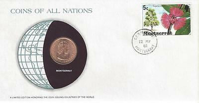 Coins of all Nations, Montserrat, 1 Cent, 1965, envelope and stamp