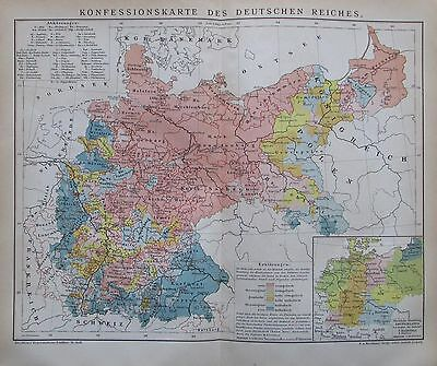 KONFESSIONSKARTE DEUTSCHES REICH 1892 Original historische Landkarte antique map