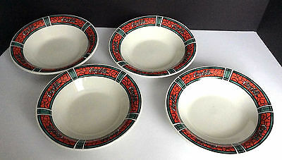 Set Of 4 1996 Coca Cola  Bowls Coke Mosaic Red By Gibson