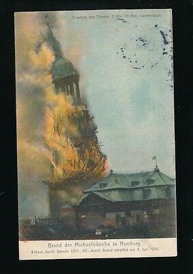 Germany HAMBURG Brand der Michaeliskirche church fire disaster Used 1906 PPC