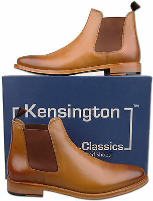 Mens New Tan Full Leather Chelsea Fashion Ankle Boots Size 7 8 9 10 11 12
