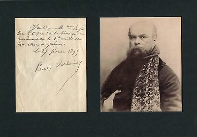 POET Paul Verlaine AUTHENTIC autographed letter signed
