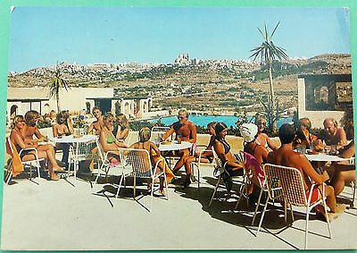 Malta postcard: Mellieha Holiday Centre-Mellieha Bay, posted with stamps.