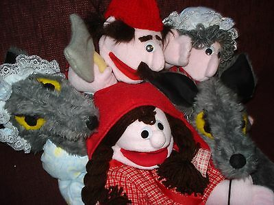 Set of 5 Hand  Puppets Red Riding Hood, Wolf, Woodcutter, Grandmother, & Wolf w