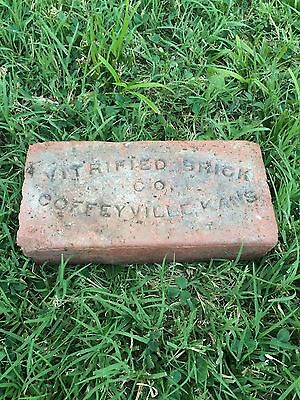 Rare antique street paver brick Coffeyville Ks Kansas sidewalk Red Montgomery Co