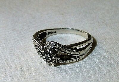 925 Sterling Silver Ring Black Stone & Diamond Accent Size 10