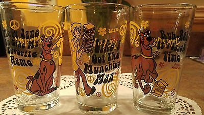 Scooby Doo Drinking Glasses Set Of 3 Big Glasses Vintage By Hanna Barbera!!!