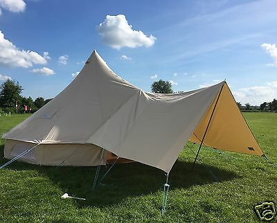 Canvas  Awning For Bell Tents / Tarp Medium 360 x 240cm By Bell Tent Boutique
