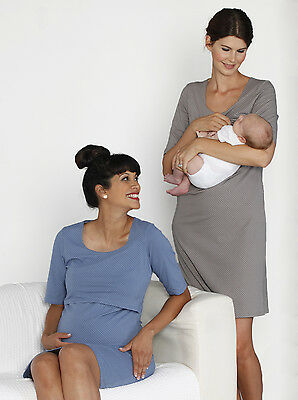 NEW Hospital Delivery Gown with Nursing Access Pregnancy - Blue Spots N837C