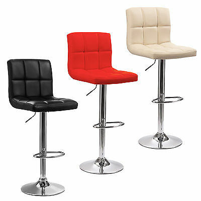 2x Cuban Chrome Base & Gas Lift Swivel Faux Leather Kitchen Breakfast Bar Stool