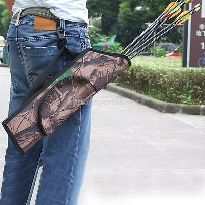 Camo Archery Arrow Quiver w/ Belt Hunting Bow Back Holder Bag Pouch Portable