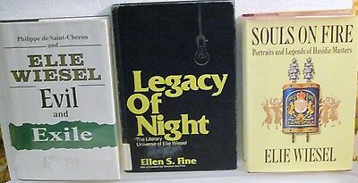 ELIE WIESEL-SOULS ON FIRE 1stAmEdHC;EXILE&EVIL1990HC,&LEGACY OF NIGHt-HC by FINE