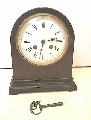 "Samuel Marti French Mahogany Dome shaped Case Striking Mantle Clock GWO 9""H 7""W"