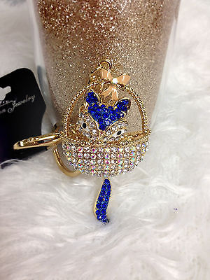 New Ladies Gift Rhinestone Crystal Charm Pendant Keyring Key Ring Chain Keychain