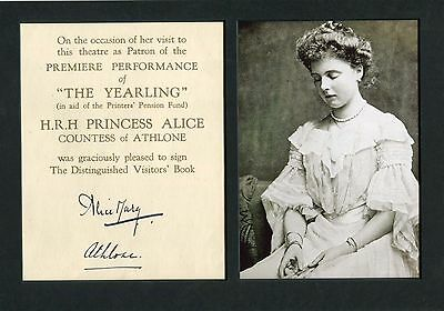 Princess Alice, Countess of Athlone autograph, signed card mounted