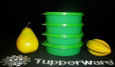 Tupperware 4 NEW Medium Wonders 12oz salad cereal lunchbox Bowls ~GREEN