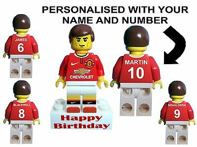 Manchester United football shirt minifigure PERSONALISED birthday cake topper