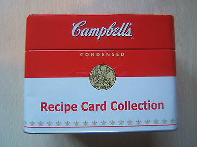 Campbell's Soup Metal Recipe Card Collection Storage Tin w/ Recipes, Blanks