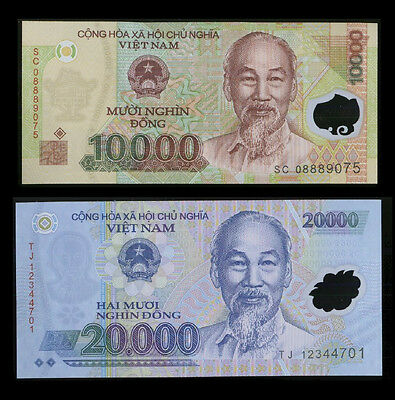 60,000 Vietnam Dong - Two 20,000 & Two 10,000 Vietnamese Dong note foreign money