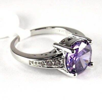 R#9356 simulated Purple Amethyst & Topaz gemstone ladies silver ring size 8