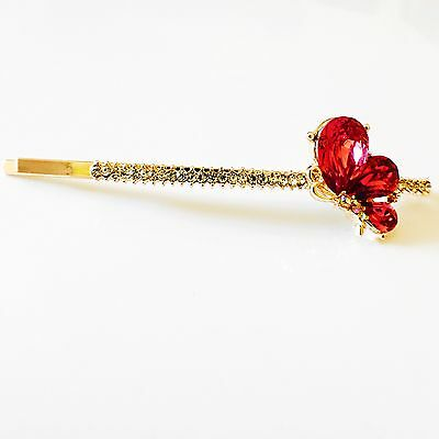 USA Bobby Pin Using Swarovski Crystal Hair Clip Hairpin Butterfly Pink Gold J32