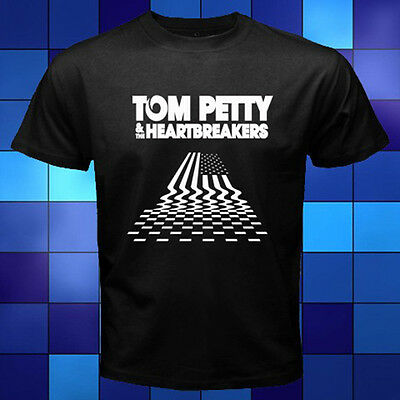TOM PETTY & THE HEARTBREAKERS Tour Logo Rock Band Black T-Shirt Size S to 3XL