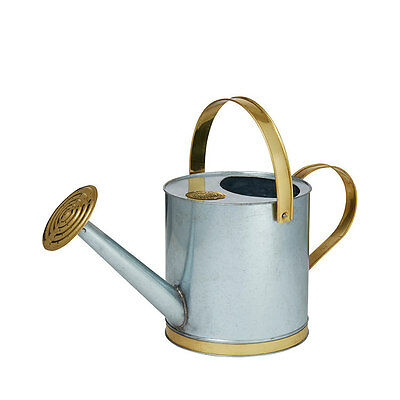 Gardening Vintage Galvanised Brass Watering Bucket Can Showerhead Sprayer 5L