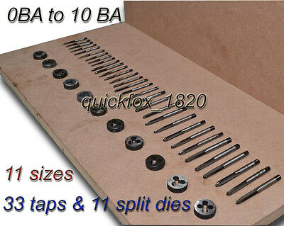 0 Ba To 10 Ba Tap & Die Set British Association Complete Kit 11 Sizes High Carbn