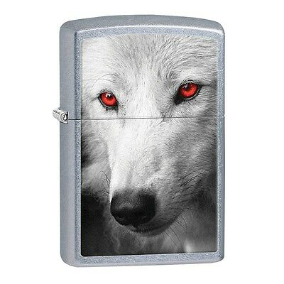 Zippo White Wolf with Red Eyes Lighter with Gift Box