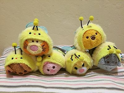 NWT Authentic Disney Store Japan 2015 Winnie The Pooh Bee Tsum Tsum Set of 6