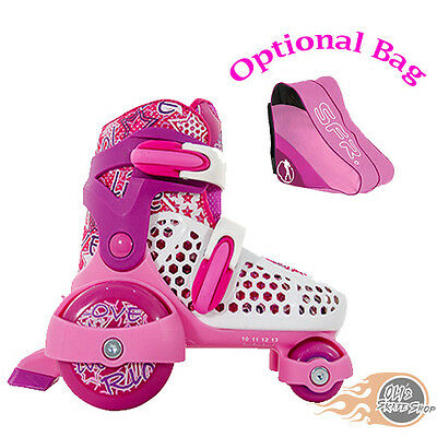 SFR Stomper Adjustable Quad  Roller Skates Girls Pink - Optional Bag